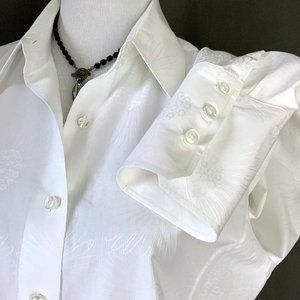 Faconnable White Cotton Button Up Shirt Career L